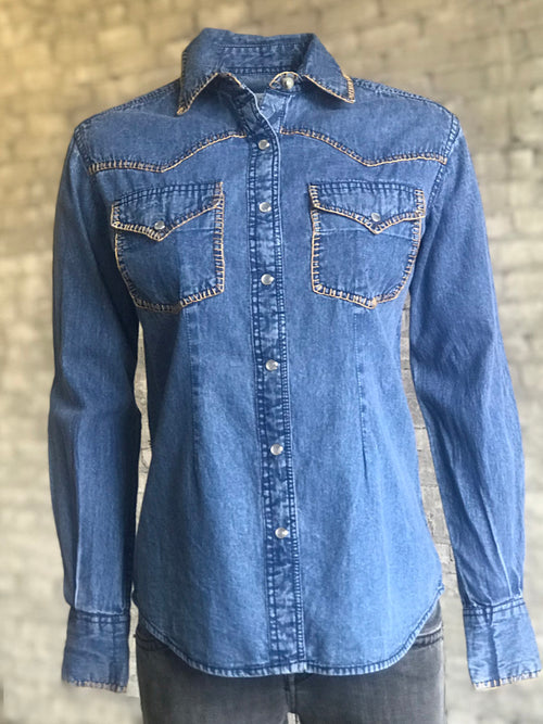 Women's Stonewashed Denim Western Shirt