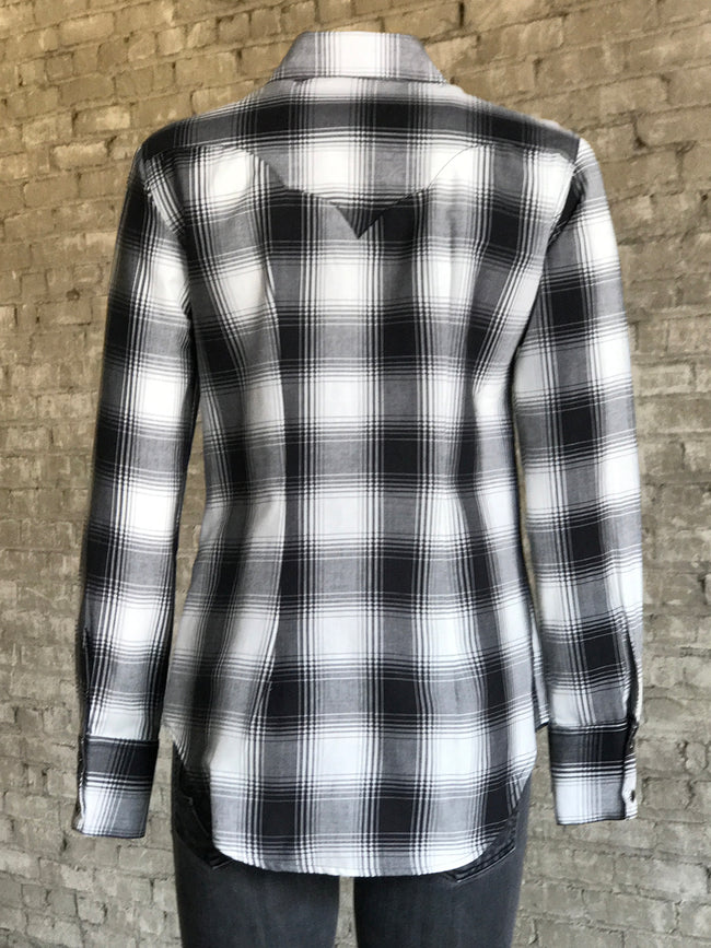 Women's Shadow Plaid Western Shirt (Size Small)