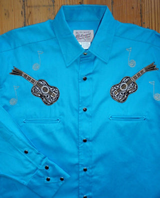 Kid's Vintage Guitar Turquoise Western Shirt - Rockmount