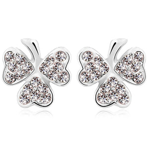 Three Heart Petals Earrings Embellished with Swarovski crystals