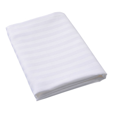 Sateen Satin Stripe White Pillowcase