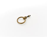 Brass drawer pulls. Circular drop handles, perfect for kitchen makeovers and furniture renovation projects.