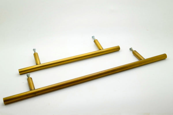 8 Inch Round bar design brass drawer handles and pulls. Perfect for Kitchen makeovers and Furniture up cycling projects.