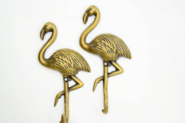 Flamingo wall hooks. Solid brass supplied with fitting screws. Add a touch of flare to your interior project.