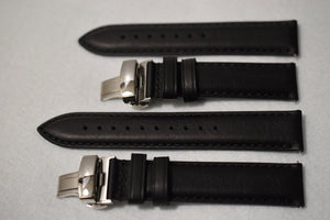 Black Aged Leather Watch Strap - Large