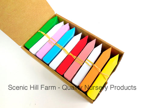 "Plastic Plant Stakes Tags Labels Bright Rainbow Colors Made in USA 4"" X 5/8"""