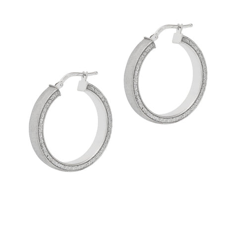 Real silver hoops with glitter edges, the hoop station, georgiana scott