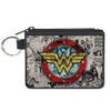 Canvas Zipper Wallet - MINI X-SMALL - Wonder Woman Logo/Comic Scenes Grays/Blue/Red/Yellow