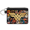 Canvas Zipper Wallet - MINI X-SMALL - Wonder Woman Icon Through The Years Comics Book Covers Stacked