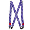 "Suspenders - 1.0"" - Minnie Mouse Bow Ears Monogram/Dots Purple/White"