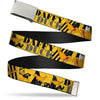 Chrome Buckle Web Belt - DAFFY DUCK w/Poses Yellow/Black Webbing