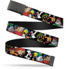 Black Buckle Web Belt - Looney Tunes 6-Hip Hop Character Poses Scattered Black Webbing