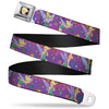 Tinker Bell CLOSE-UP Full Color Seatbelt Belt - Tinker Bell Poses/Flowers/Stars/Skull Purple Webbing