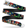 TOY STORY Logo Full Color Black Seatbelt Belt - Toy Story Characters Running Denim Rays Webbing