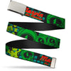 Chrome Buckle Web Belt - MARVIN THE MARTIAN w/Poses Black/Turquoise Webbing