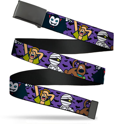 Black Buckle Web Belt - Mini Scooby Doo Halloween/Bats Purple/Black Webbing