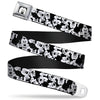 Mickey Mouse Face CLOSE-UP Full Color White Black Seatbelt Belt - Mickey Mouse Expressions Stacked White/Black Webbing