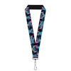 "Lanyard - 1.0"" - Stitch 2-Expressions 2-Poses Tropical Flora Black Purple-Blue Fade"
