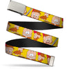 Chrome Buckle Web Belt - Elmer Fudd Expressions Yellow Webbing
