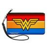 Canvas Zipper Wallet - SMALL - Wonder Woman Logo Stripe Red Yellows Blue