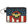 Canvas Zipper Wallet - MINI X-SMALL - WONDER WOMAN Logo Americana Red White Blue Yellow