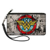 Canvas Zipper Wallet - SMALL - Wonder Woman Logo Comic Scenes Grays Blue Red Yellow