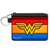 Canvas Zipper Wallet - MINI X-SMALL - Wonder Woman Logo Stripe Red Yellows Blue