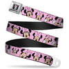 Minnie Mouse Full Color Face Pink Polka Dot Black Seatbelt Belt - Minnie Mouse Expressions Polka Dot Pink/White Webbing