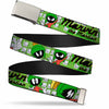 Chrome Buckle Web Belt - MARVIN THE MARTIAN w/Poses White/Green Webbing