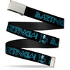 Chrome Buckle Web Belt - Sheldon/BAZINGA! Black/Blue Glow Webbing