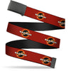 Black Buckle Web Belt - BAZINGA! Logo Burgundy Webbing