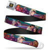 Aladdin Flower Motif Full Color Black Gold Seatbelt Belt - Aladdin & Jasmine Scenes/Castle/Birds Webbing