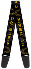 Guitar Strap - Pontiac FIREBIRD Logo Black Grays Golds