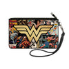 Canvas Zipper Wallet - LARGE - Wonder Woman Icon Through The Years Comics Book Covers Stacked
