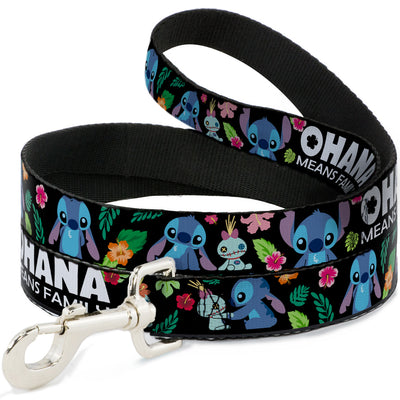 Dog Leash - OHANA MEANS FAMILY/Stitch & Scrump Poses/Tropical Flora Black/White/Multi Color