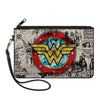 Canvas Zipper Wallet - LARGE - Wonder Woman Logo Comic Scenes Grays Blue Red Yellow