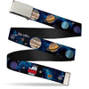 Chrome Buckle Web Belt - THE BIG BANG THEORY Planets/Space Webbing