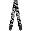 Guitar Strap - Mickey Mouse Head Stacked Black Grays