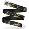 Aladdin Flower Motif Full Color Black Gold Seatbelt Belt - Jasmine & Aladdin Carpet Ride/Jasmine Poses/Flowers Webbing