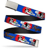 Chrome Buckle Web Belt - BUGS BUNNY w/Bugs Poses Blue Webbing