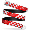 Toy Story PIZZA PLANET Logo Full Color Red/White Seatbelt Belt - Toy Story PIZZA PLANET Logo Checker Red/White Webbing