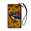 Canvas Zipper Wallet - SMALL - Studded WONDER WOMAN Heart STRENGTH AND BEAUTY Tattoo Roses Gold