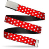 Chrome Buckle Web Belt - Minnie Mouse Polka Dots Red/White Webbing