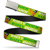 Chrome Buckle Web Belt - DAFFY DUCK w/Face CLOSE-UP Greens Webbing