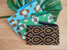 Beaded wristlet - leopard blue