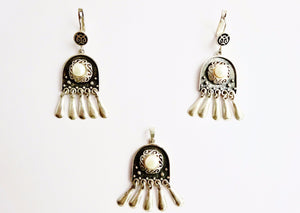 Silver and pearl earrings and pendant set