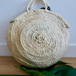 Polka dot woven basket bag