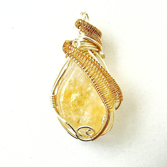 Citrine Necklace - Silver & Gold