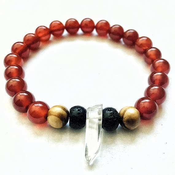 Carnelion, Tigers Eye, and Quartz Bracelet with Lava Beads