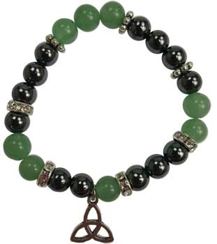 8mm Green Aventurine/ Hematite with Triquetra